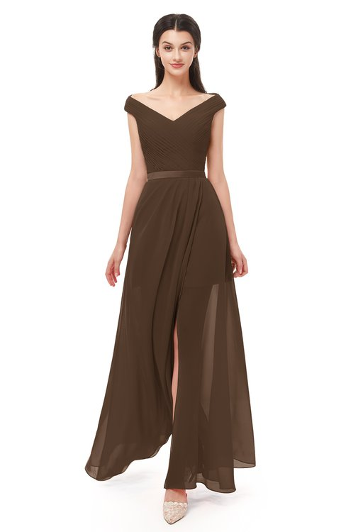 a4b999e86153 ... ColsBM Ariel Chocolate Brown Bridesmaid Dresses A-line Short Sleeve Off  The Shoulder Sash Sexy