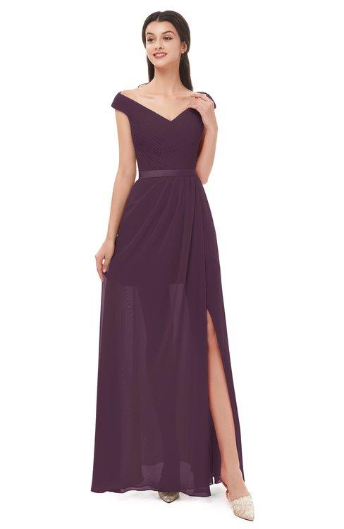 ColsBM Ariel Plum Bridesmaid Dresses A-line Short Sleeve Off The Shoulder Sash Sexy Floor Length