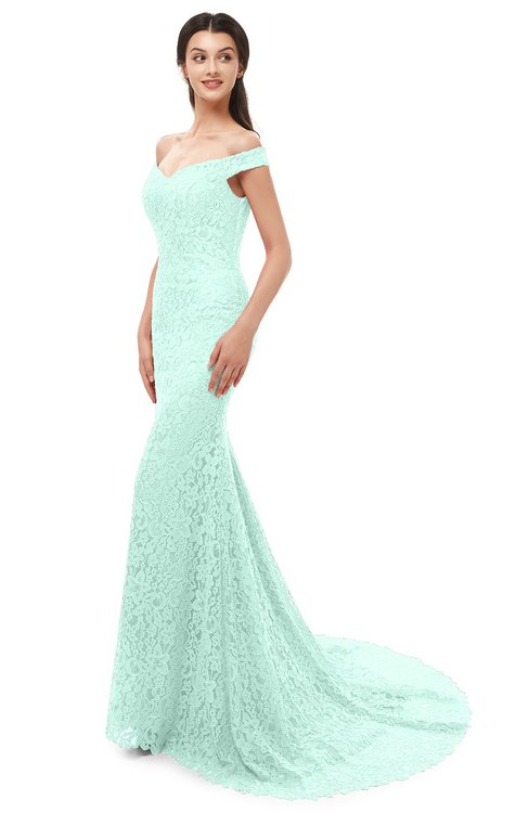 ColsBM Reese Aqua Bridesmaid Dresses Zip up Mermaid Sexy Off The Shoulder Lace Chapel Train