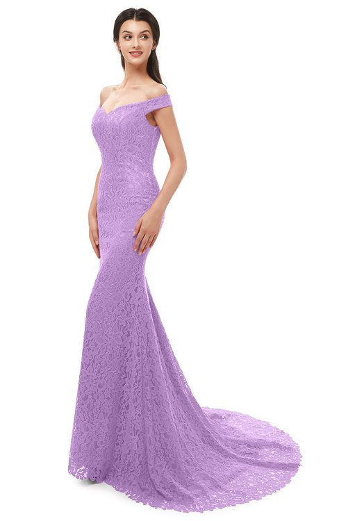 ColsBM Reese Begonia Bridesmaid Dresses Zip up Mermaid Sexy Off The Shoulder Lace Chapel Train