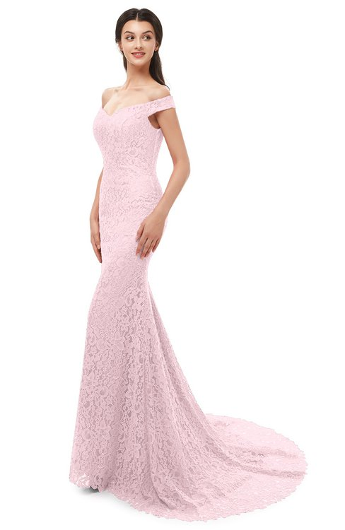 ColsBM Reese Blushing Bride Bridesmaid Dresses Zip up Mermaid Sexy Off The Shoulder Lace Chapel Train