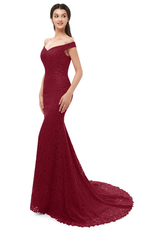 ColsBM Reese Burgundy Bridesmaid Dresses Zip up Mermaid Sexy Off The Shoulder Lace Chapel Train
