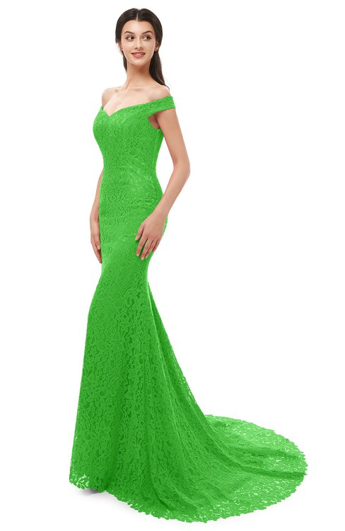 ColsBM Reese Classic Green Bridesmaid Dresses Zip up Mermaid Sexy Off The Shoulder Lace Chapel Train
