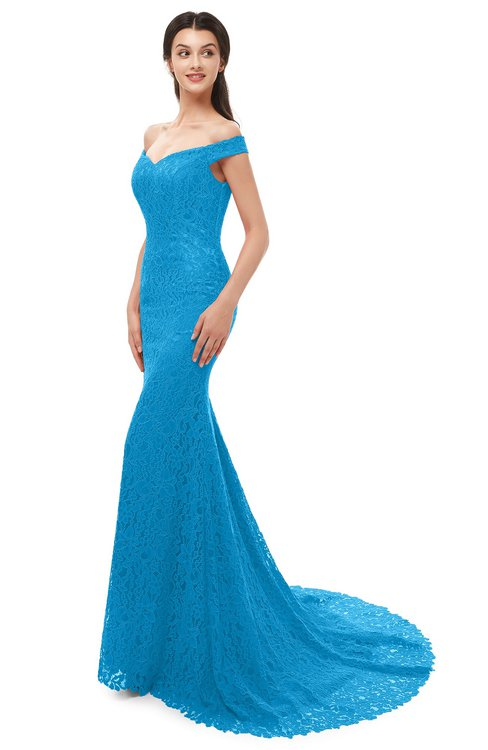 ColsBM Reese Dresden Blue Bridesmaid Dresses Zip up Mermaid Sexy Off The Shoulder Lace Chapel Train