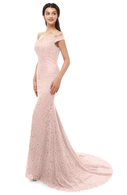 ColsBM Reese Evening Sand Bridesmaid Dresses Zip up Mermaid Sexy Off The Shoulder Lace Chapel Train