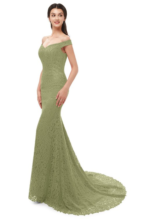 ColsBM Reese Fern Green Bridesmaid Dresses Zip up Mermaid Sexy Off The Shoulder Lace Chapel Train