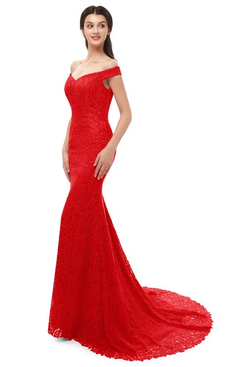 ColsBM Reese Fiery Red Bridesmaid Dresses Zip up Mermaid Sexy Off The Shoulder Lace Chapel Train