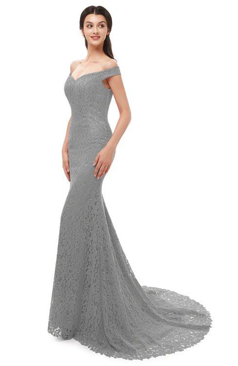 ColsBM Reese Flint Gray Bridesmaid Dresses Zip up Mermaid Sexy Off The Shoulder Lace Chapel Train