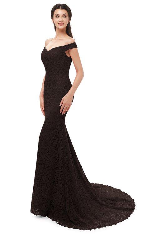 ColsBM Reese Fudge Brown Bridesmaid Dresses Zip up Mermaid Sexy Off The Shoulder Lace Chapel Train