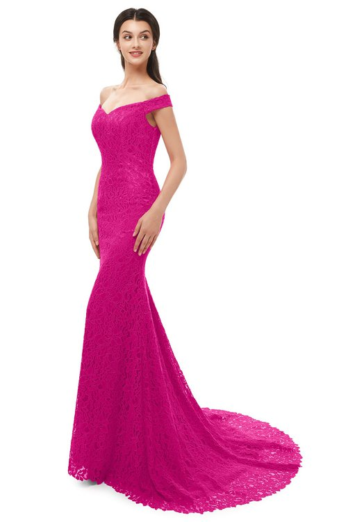 ColsBM Reese Hot Pink Bridesmaid Dresses Zip up Mermaid Sexy Off The Shoulder Lace Chapel Train