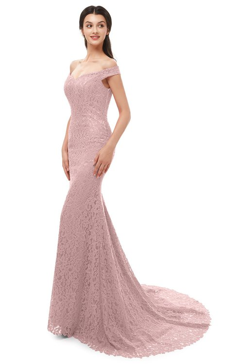 ColsBM Reese Light Coral Bridesmaid Dresses Zip up Mermaid Sexy Off The Shoulder Lace Chapel Train