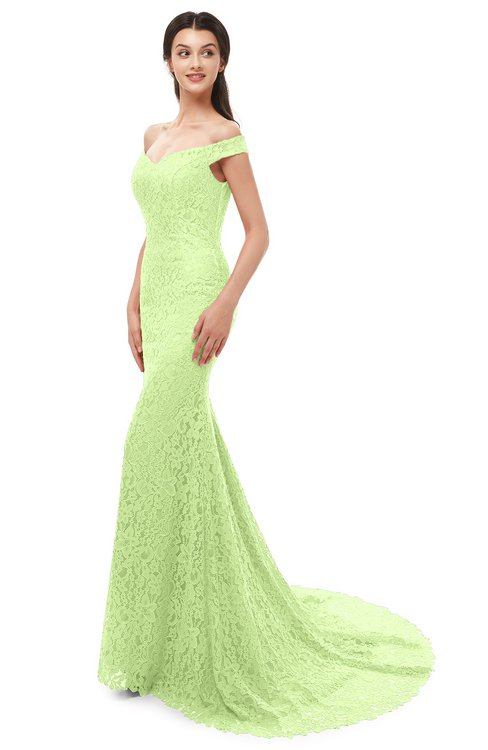 ColsBM Reese Lime Green Bridesmaid Dresses Zip up Mermaid Sexy Off The Shoulder Lace Chapel Train
