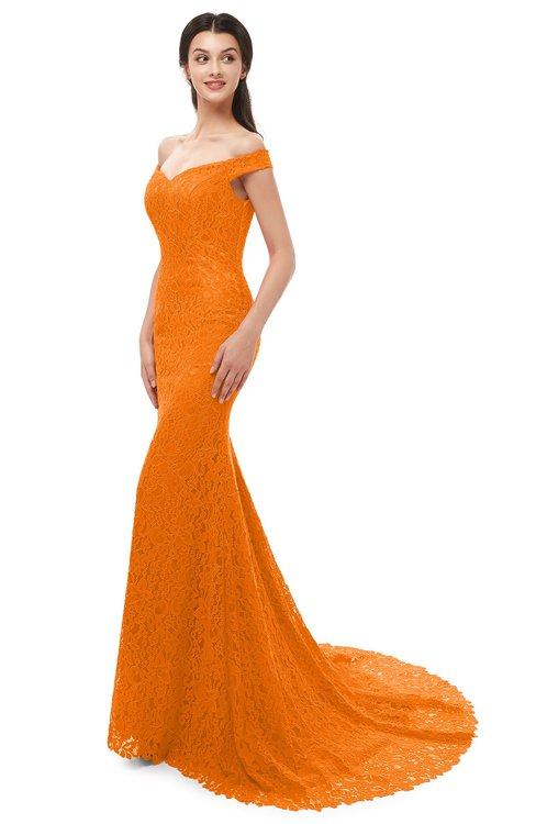 ColsBM Reese Orange Bridesmaid Dresses Zip up Mermaid Sexy Off The Shoulder Lace Chapel Train