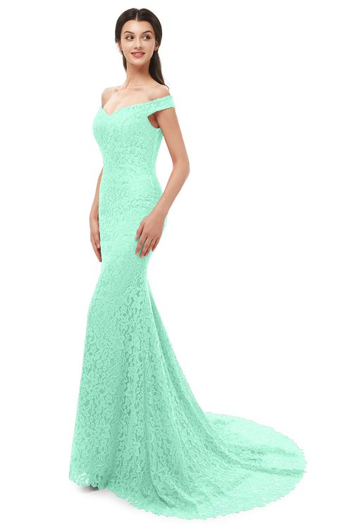 ColsBM Reese Pastel Green Bridesmaid Dresses Zip up Mermaid Sexy Off The Shoulder Lace Chapel Train