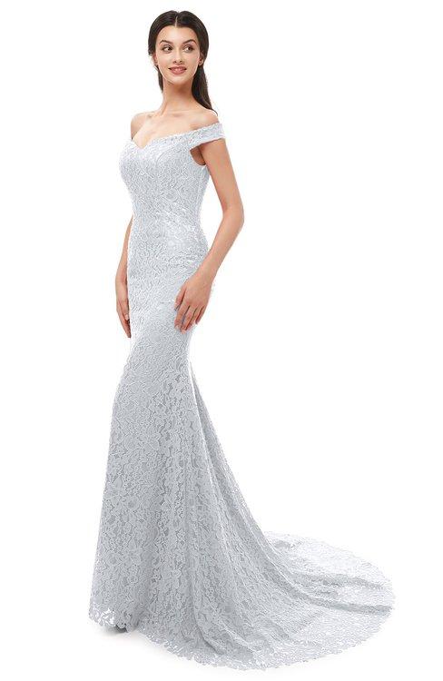 ColsBM Reese Platinum Bridesmaid Dresses Zip up Mermaid Sexy Off The Shoulder Lace Chapel Train