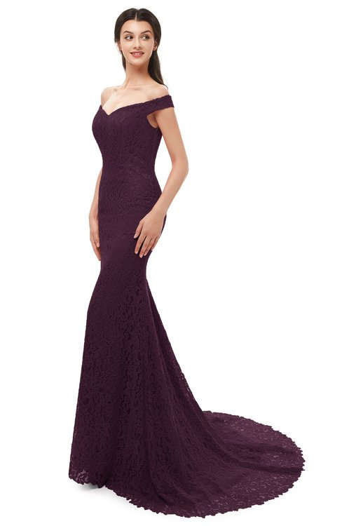 ColsBM Reese Plum Bridesmaid Dresses Zip up Mermaid Sexy Off The Shoulder Lace Chapel Train