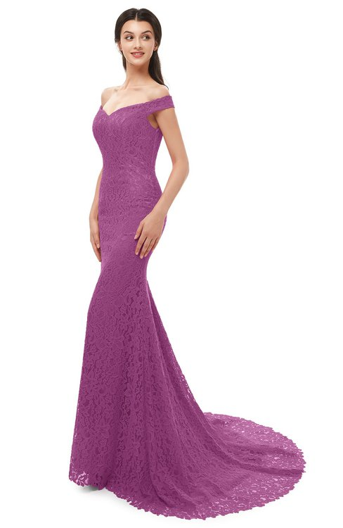 ColsBM Reese Purple Orchid Bridesmaid Dresses Zip up Mermaid Sexy Off The Shoulder Lace Chapel Train