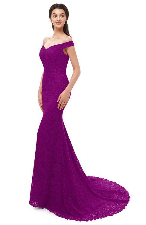ColsBM Reese Purple Wine Bridesmaid Dresses Zip up Mermaid Sexy Off The Shoulder Lace Chapel Train