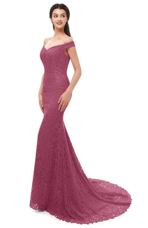 ColsBM Reese Rose Wine Bridesmaid Dresses Zip up Mermaid Sexy Off The Shoulder Lace Chapel Train