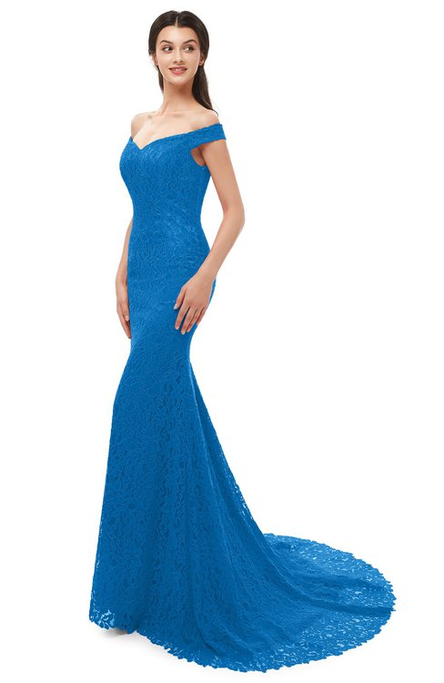 ColsBM Reese Royal Blue Bridesmaid Dresses Zip up Mermaid Sexy Off The Shoulder Lace Chapel Train