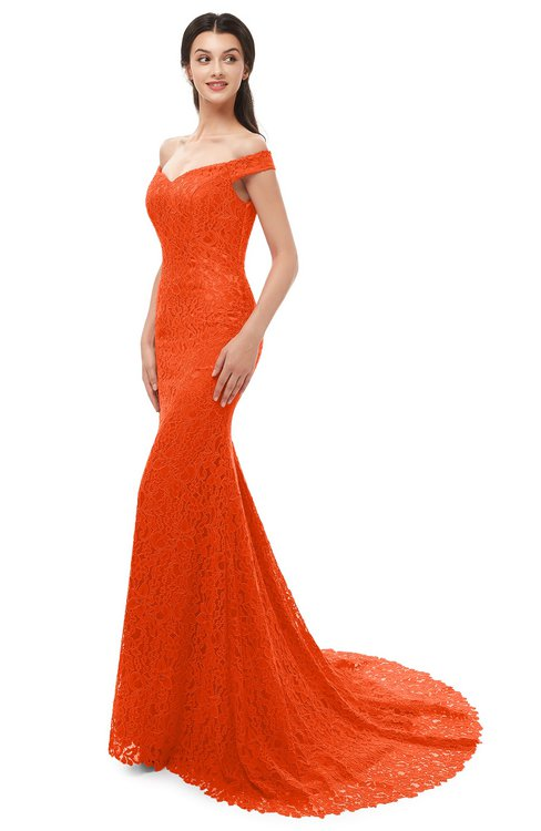 ColsBM Reese Spicy Orange Bridesmaid Dresses Zip up Mermaid Sexy Off The Shoulder Lace Chapel Train