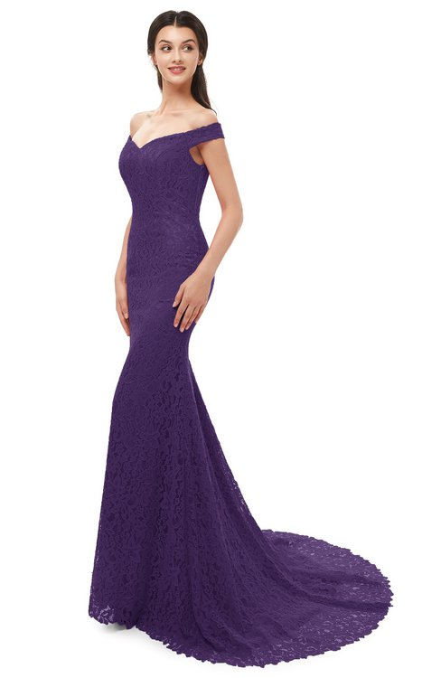 ColsBM Reese Violet Bridesmaid Dresses Zip up Mermaid Sexy Off The Shoulder Lace Chapel Train