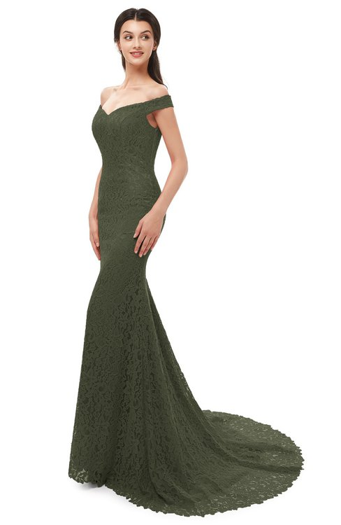 ColsBM Reese Winter Moss Bridesmaid Dresses Zip up Mermaid Sexy Off The Shoulder Lace Chapel Train
