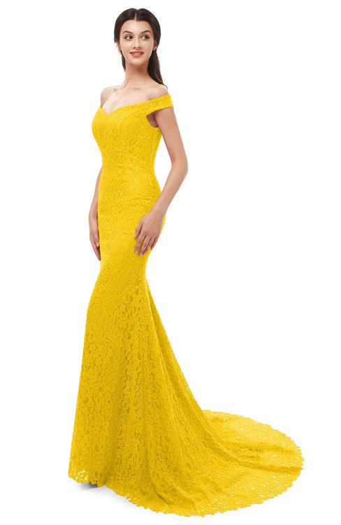 ColsBM Reese Yellow Bridesmaid Dresses Zip up Mermaid Sexy Off The Shoulder Lace Chapel Train