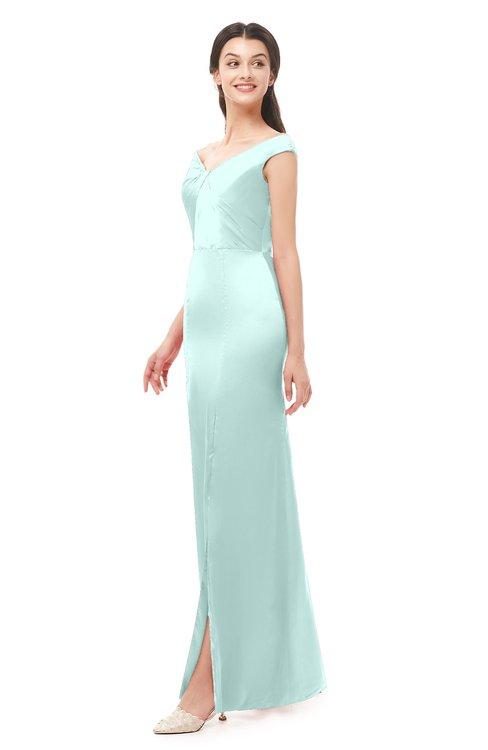 ColsBM Maryam Blue Glass Bridesmaid Dresses Mature Sheath Off The Shoulder Floor Length Half Backless Split-Front