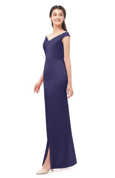 ColsBM Maryam Blue Ribbon Bridesmaid Dresses Mature Sheath Off The Shoulder Floor Length Half Backless Split-Front