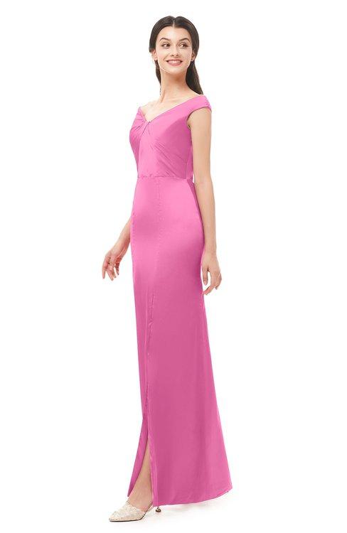 ColsBM Maryam Carnation Pink Bridesmaid Dresses Mature Sheath Off The Shoulder Floor Length Half Backless Split-Front