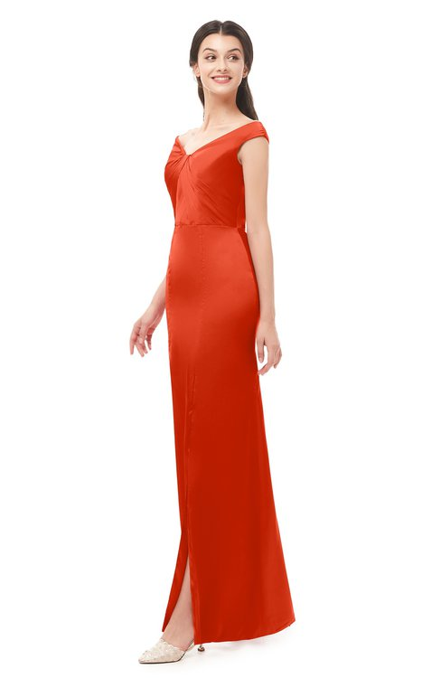 ColsBM Maryam Cherry Tomato Bridesmaid Dresses Mature Sheath Off The Shoulder Floor Length Half Backless Split-Front