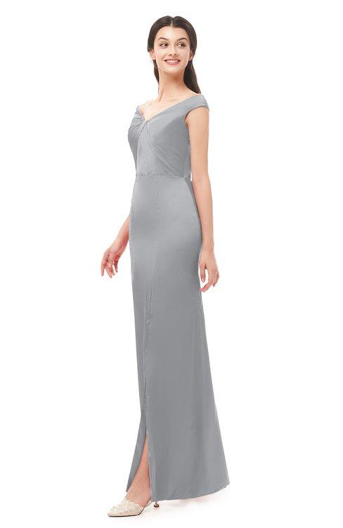 ColsBM Maryam Cloud Gray Bridesmaid Dresses Mature Sheath Off The Shoulder Floor Length Half Backless Split-Front