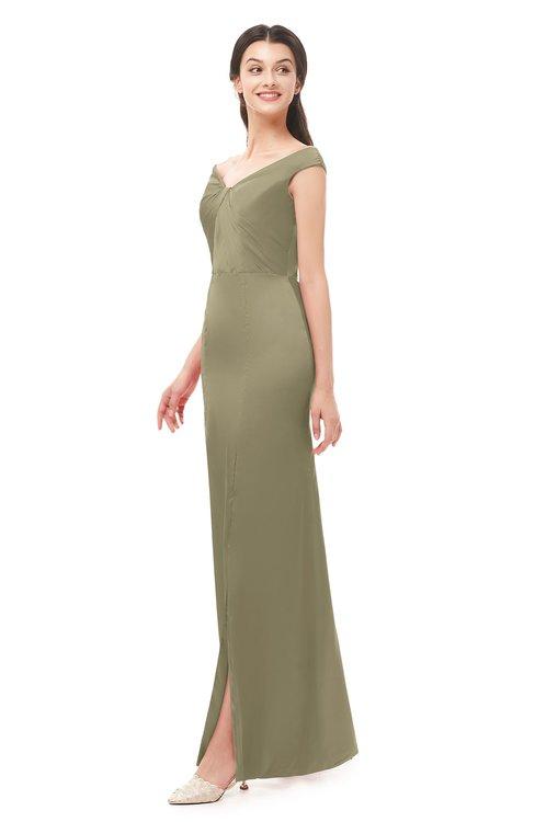 ColsBM Maryam Cornstalk Bridesmaid Dresses Mature Sheath Off The Shoulder Floor Length Half Backless Split-Front