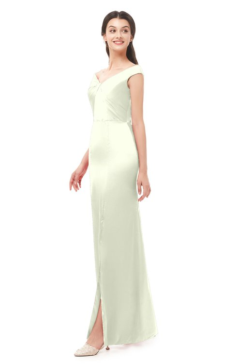 ColsBM Maryam Cream Bridesmaid Dresses Mature Sheath Off The Shoulder Floor Length Half Backless Split-Front