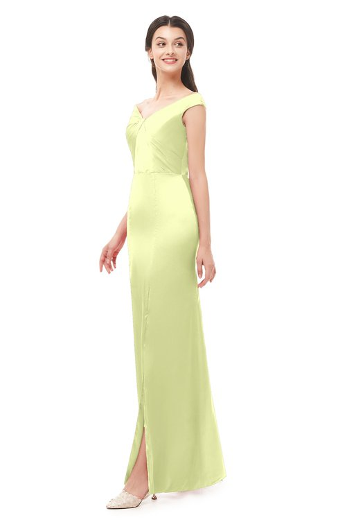 ColsBM Maryam Daffodil Bridesmaid Dresses Mature Sheath Off The Shoulder Floor Length Half Backless Split-Front