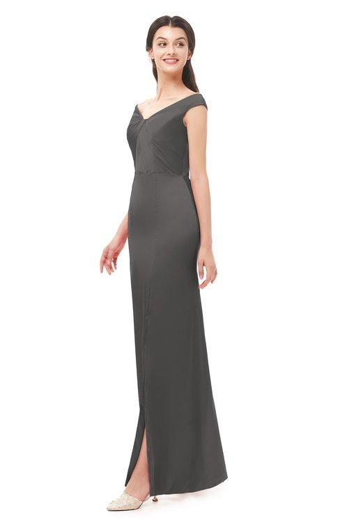 ColsBM Maryam Dark Gull Gray Bridesmaid Dresses Mature Sheath Off The Shoulder Floor Length Half Backless Split-Front