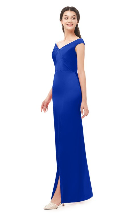 ColsBM Maryam Dazzling Blue Bridesmaid Dresses Mature Sheath Off The Shoulder Floor Length Half Backless Split-Front