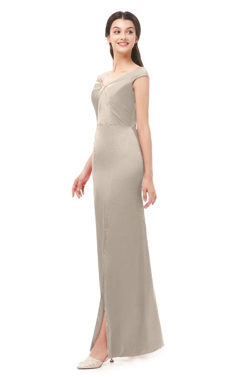 ColsBM Maryam Fawn Bridesmaid Dresses Mature Sheath Off The Shoulder Floor Length Half Backless Split-Front