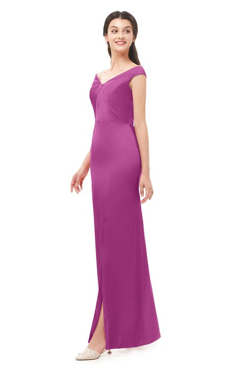 ColsBM Maryam Festival Fuchsia Bridesmaid Dresses Mature Sheath Off The Shoulder Floor Length Half Backless Split-Front