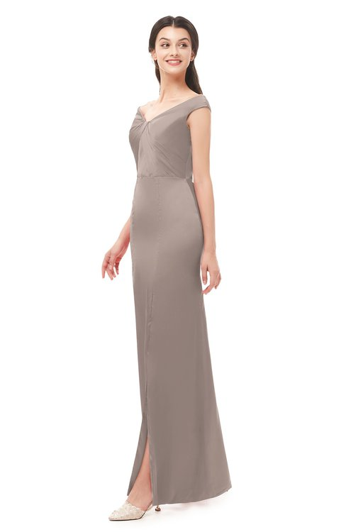 ColsBM Maryam Latte Bridesmaid Dresses Mature Sheath Off The Shoulder Floor Length Half Backless Split-Front