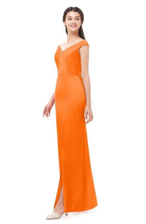 ColsBM Maryam Orange Bridesmaid Dresses Mature Sheath Off The Shoulder Floor Length Half Backless Split-Front
