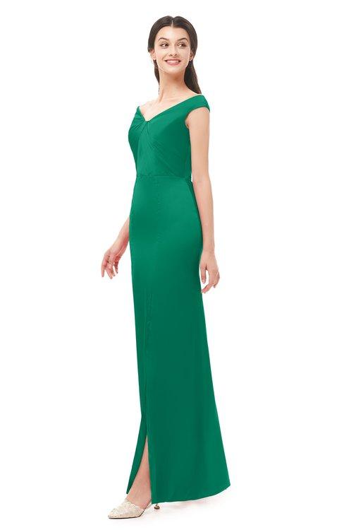 ColsBM Maryam Pepper Green Bridesmaid Dresses Mature Sheath Off The Shoulder Floor Length Half Backless Split-Front