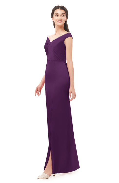 ColsBM Maryam Plum Bridesmaid Dresses Mature Sheath Off The Shoulder Floor Length Half Backless Split-Front