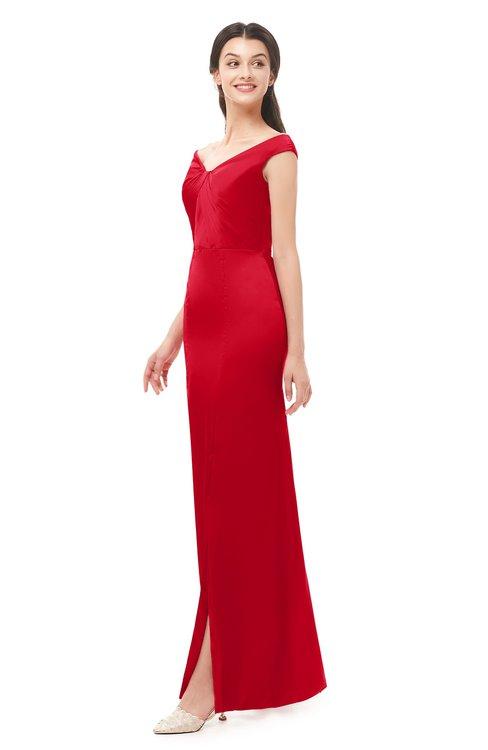 ColsBM Maryam Red Bridesmaid Dresses Mature Sheath Off The Shoulder Floor Length Half Backless Split-Front