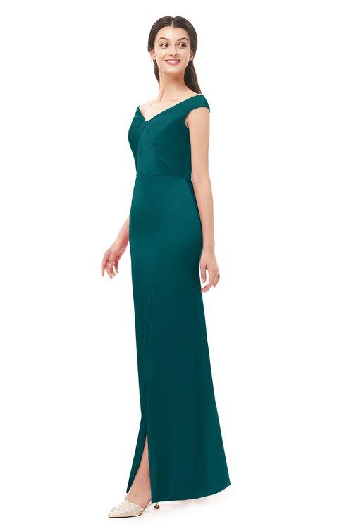 ColsBM Maryam Shaded Spruce Bridesmaid Dresses Mature Sheath Off The Shoulder Floor Length Half Backless Split-Front