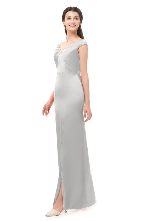 ColsBM Maryam Silver Gray Bridesmaid Dresses Mature Sheath Off The Shoulder Floor Length Half Backless Split-Front