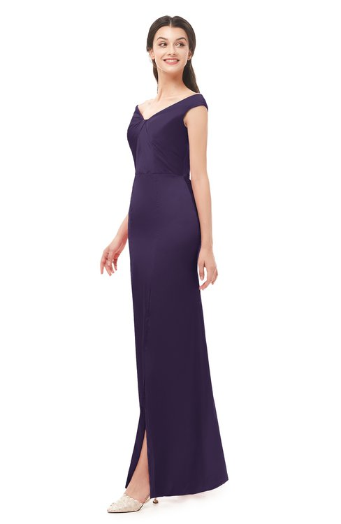 ColsBM Maryam Violet Bridesmaid Dresses Mature Sheath Off The Shoulder Floor Length Half Backless Split-Front