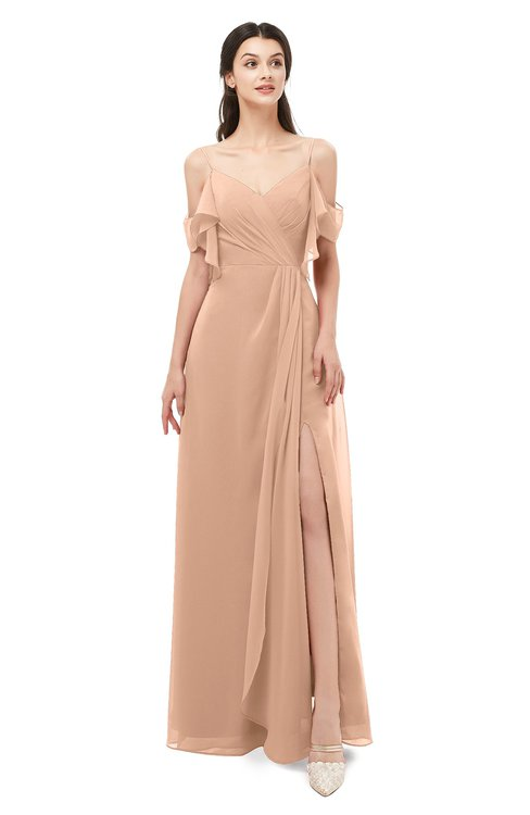 ColsBM Blair Almost Apricot Bridesmaid Dresses Spaghetti Zipper Simple A-line Ruching Short Sleeve