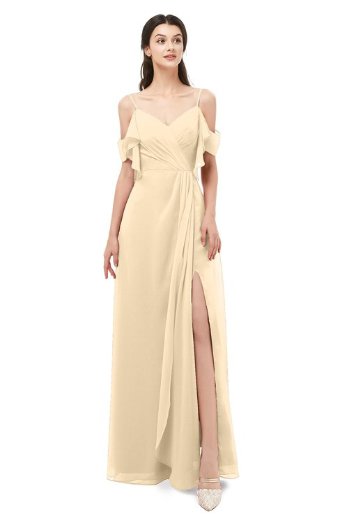 ColsBM Blair Apricot Gelato Bridesmaid Dresses Spaghetti Zipper Simple A-line Ruching Short Sleeve
